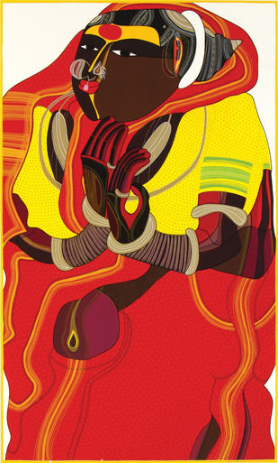 Untitled by Thota Vaikuntam, Expressionism Printmaking, Serigraph on Paper, Red color