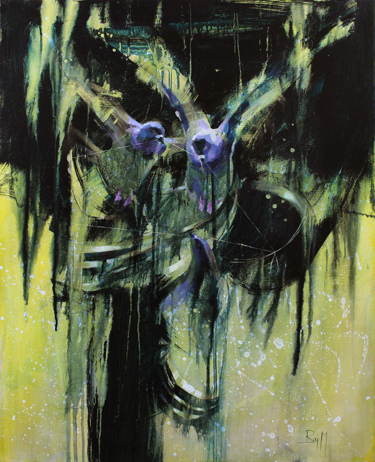 The Amodal Perception: Stealing the Dream by Raj Maji, Fantasy Painting, Acrylic on Canvas, Green color