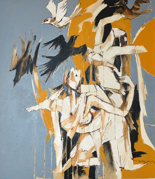 Freedom by Wilson Souza, Expressionism Painting, Oil on Canvas, Beige color