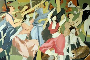 Musical Ecstasy by Wilson Souza, Impressionism Painting, Oil on Canvas, Beige color