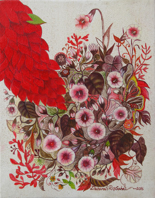 Wild Flower 1 by Debarati Roy Saha, Impressionism Painting, Oil on Canvas, Red color