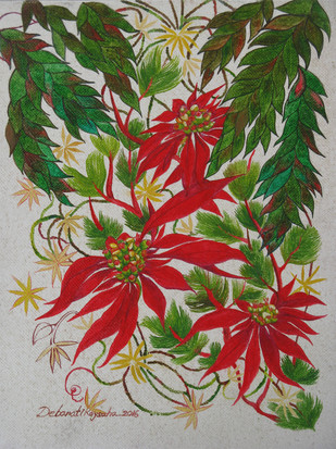 Wild Flower 2 by Debarati Roy Saha, Impressionism Painting, Oil on Canvas, Red color