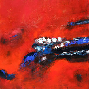 Joy by Neena Singh, Abstract Painting, Acrylic on Canvas, Red color