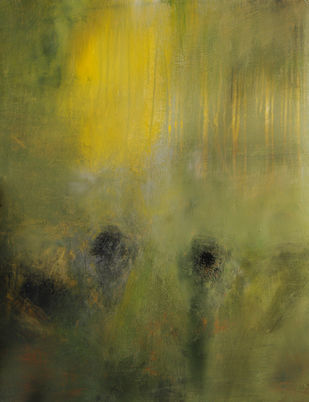 Harmony by Neena Singh, Abstract Painting, Acrylic on Paper, Green color