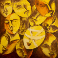 Thoughtless by Manoj Mauryaa, Decorative Painting, Acrylic on Canvas, Brown color