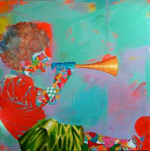 The childhood iii by shiv kumar soni, Expressionism Painting, Acrylic on Canvas, Cyan color