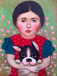 Me and my dog by Meena Laishram, Impressionism Painting, Dry Pastel on Paper, Brown color