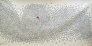 Gond painting by Bhajju Shyam, Traditional Painting, Acrylic on Canvas, Gray color