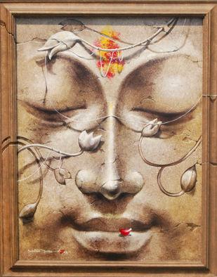 Yug-Purush by Sanatan Dinda, Decorative Painting, Acrylic on Canvas, Brown color