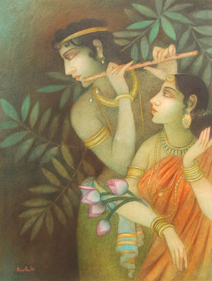 """Krishna & Radha, Mythology, Tempera on canvas, Red, Pink, Green, Yellow """"In Stock"""" by Bratin Khan, Impressionism Painting, Tempera on Canvas, Brown color"""