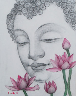 """Enlightened, Buddha, Charcoal, Pastel on canvas, Black, Pink, Green """"In Stock"""" by Bratin Khan, Decorative Painting, Charcoal on Canvas, Beige color"""