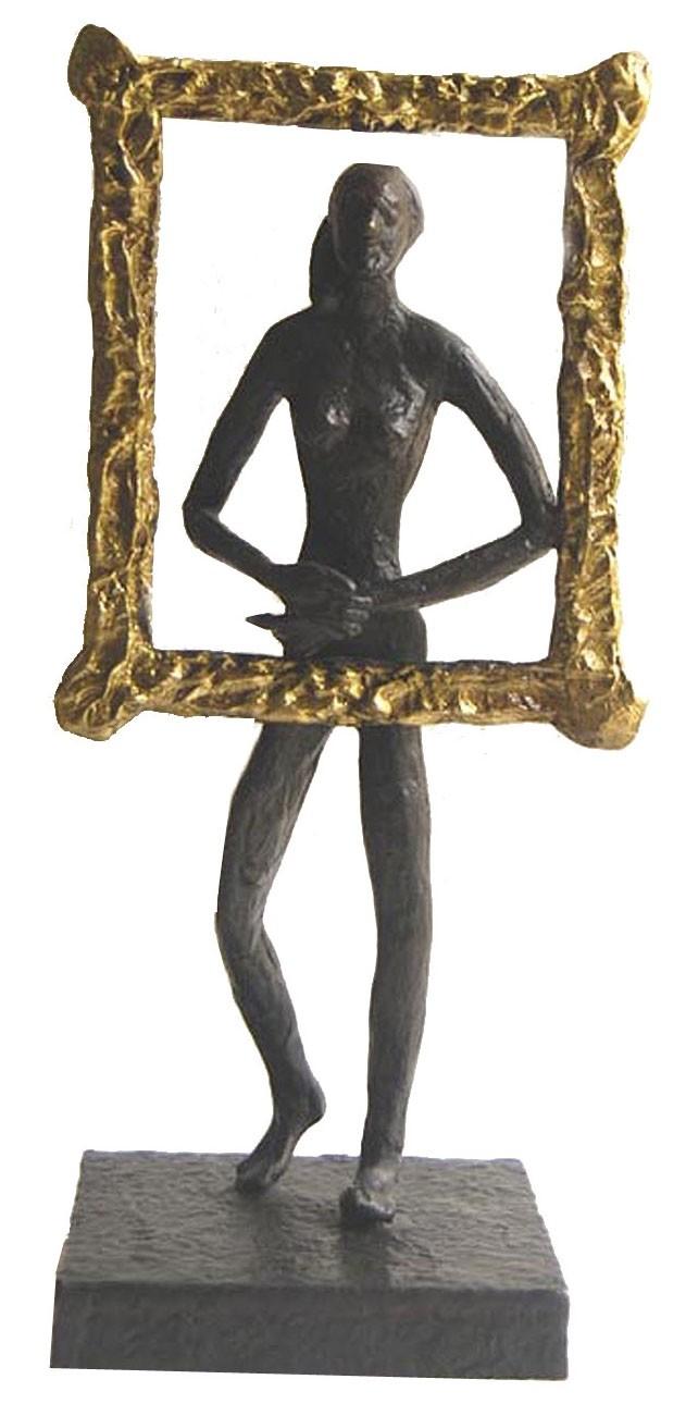 Monalisa by K S Radhakrishnan, Impressionism Sculpture   3D, Bronze, Gray color