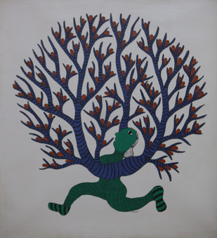 Vann Devi - Goddess of the Forest by MANGRU UIKEY, Folk Painting, Acrylic on Canvas, Gray color
