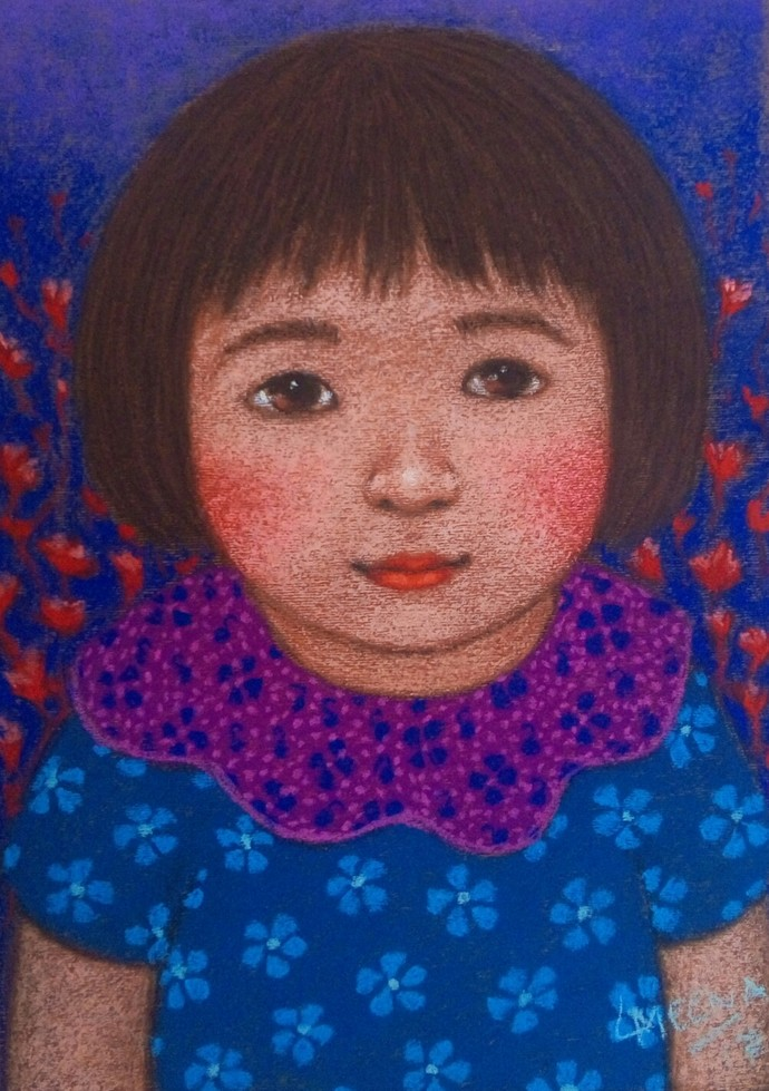 iinnocent look 3 by Meena Laishram, Expressionism Painting, Dry Pastel on Paper, Brown color