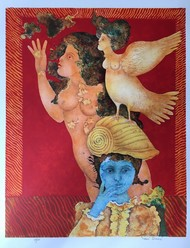 untitled by Sakti Burman, Fantasy Printmaking, Lithography on Paper, Brown color