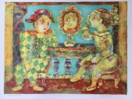 Untitled by Sakti Burman, Fantasy Printmaking, Lithography on Paper, Beige color