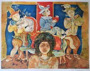 Untitled by Sakti Burman, Traditional Printmaking, Lithography on Paper, Brown color