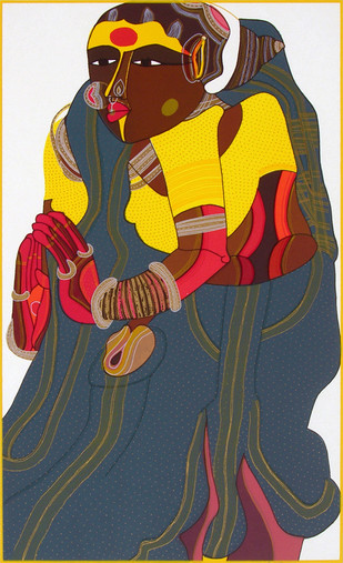 Telangana Woman - IV by Thota Vaikuntam, Expressionism Printmaking, Serigraph on Paper, Brown color