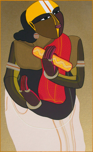 Telangana Pandit - I by Thota Vaikuntam, Expressionism Printmaking, Serigraph on Paper, Brown color