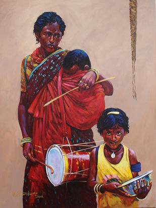 mother & child-2 by K V Shankar, Expressionism Painting, Acrylic on Canvas, Brown color