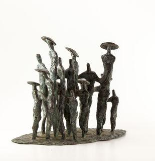Gathering-1 by Tushar Kanti Das Roy, Decorative, Impressionism Sculpture | 3D, Bronze, White color