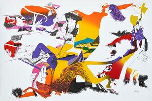 Kiss by Nabibaksh Mansoori, Expressionism Printmaking, Serigraph on Paper, Gray color