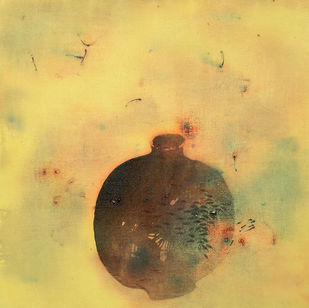 untitled 1116 by Arvind V Patel, Minimalism Painting, Acrylic on Canvas, Beige color