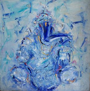 Untitled by N S Manohar, Impressionism Painting, Acrylic on Canvas, Blue color