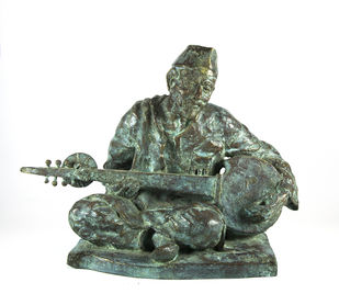 Baba - The Musician by Debabrata De, Decorative Sculpture | 3D, Bronze, White color