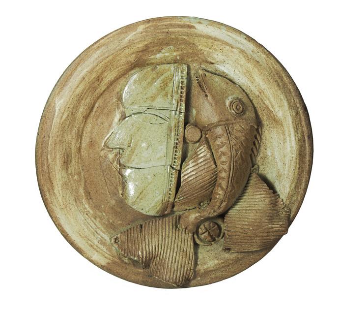 Platter-3 by Laxma Goud, Decorative Sculpture   3D, Ceramic, Beige color
