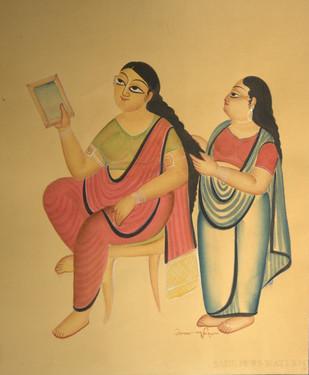 Grooming by KALAM PATUA, Folk Painting, Water Based Medium on Paper, Beige color