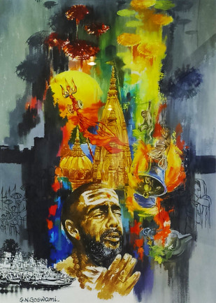 Devotee in Banaras - 2 by Shambhu Nath Goswami, Expressionism Painting, Mixed Media on Paper, Green color