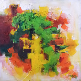 Untitled 5 by Mopasang Valath, Abstract Painting, Acrylic on Canvas, Brown color