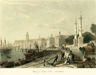 Quay of Louis XVIII, Bordeaux Digital Print by Allom, T.,Realism