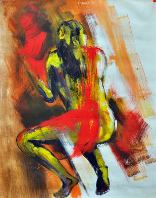 She III by Shruti Goyal, Expressionism Painting, Acrylic on Canvas, Brown color