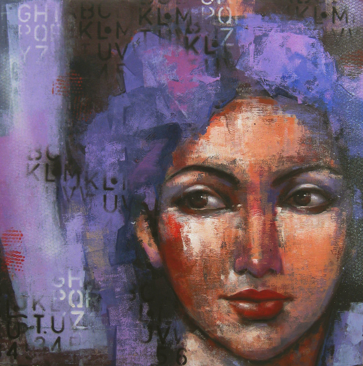 expression series by Anindya Mukherjee, Expressionism Painting, Acrylic on Canvas, Blue color