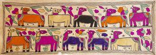 Camel Caravan by Yamuna Devi, Folk Painting, Water Based Medium on Paper, Brown color