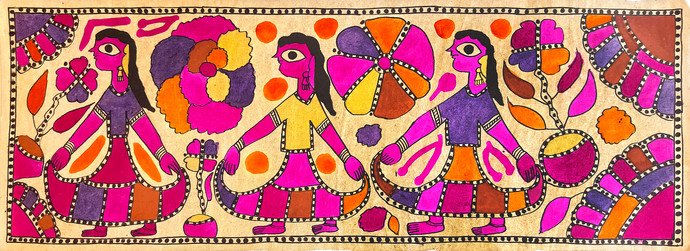 Reshma, Kushma, Dauna - The Malin Sisters by Yamuna Devi, Folk Painting, Water Based Medium on Paper, Pink color
