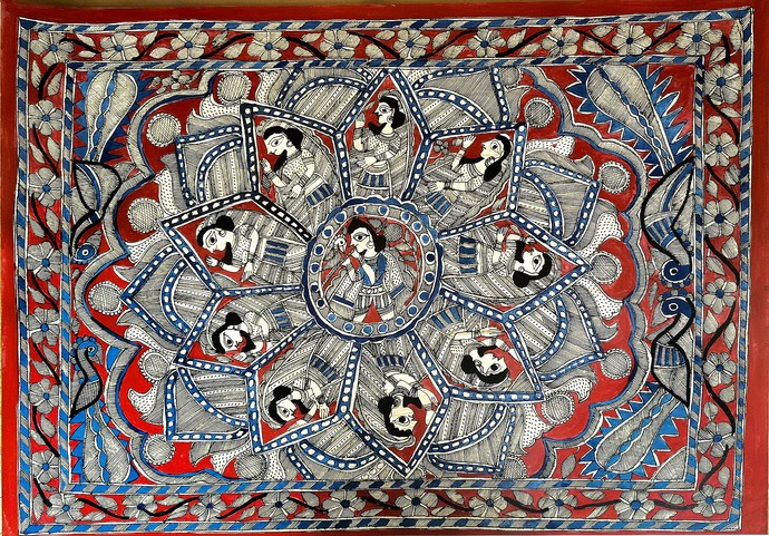 Lord Krishna and Gopis by Chano Devi, Folk Painting, Acrylic on Paper, Brown color