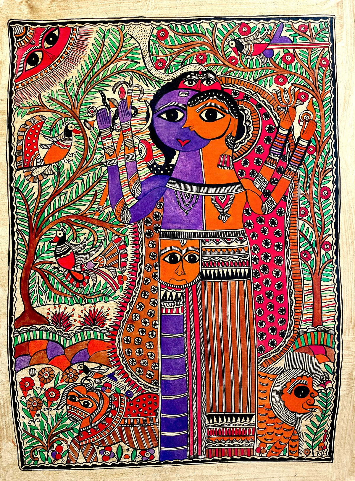 Ardhanarishvara by Chano Devi, Folk Painting, Water Based Medium on Paper, Brown color