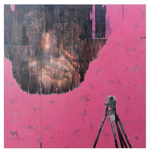 Desolate by Susanta Das, Expressionism Painting, Acrylic on Canvas, Pink color
