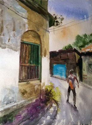 the street by Santosh Keshari , Expressionism Painting, Watercolor on Paper, Brown color