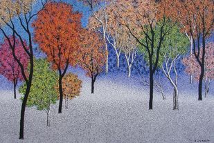 Landscape by Sanjay Devsale, Decorative Painting, Acrylic on Canvas, Brown color