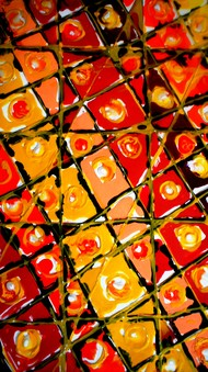 JUGGLERY OF COLORS by Baljit Singh Chadha, Abstract Painting, Acrylic on Paper, Brown color