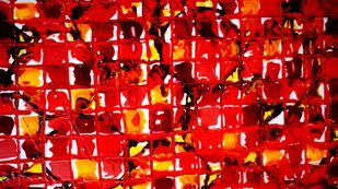 JUGGLERY OF COLORS by Baljit Singh Chadha, Abstract Painting, Acrylic on Paper, Red color