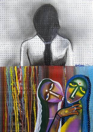 death of virginity by Arun K Mishra, Expressionism Painting, Mixed Media on Paper, Gray color