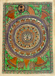 Earth on Tortoise by Chano Devi, Folk Painting, Water Based Medium on Paper, Beige color