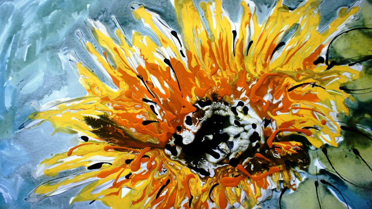 sunflowers by Baljit Singh Chadha, Expressionism Painting, Mixed Media on Paper, Beige color