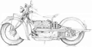 Motorcycle Sketch II Digital Print by Meagher, Megan,Illustration