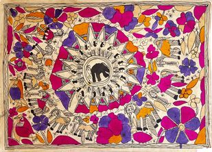 The Ambush by Yamuna Devi, Folk Painting, Water Based Medium on Paper, Brown color